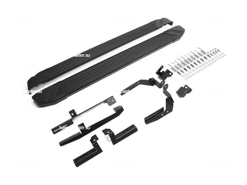 Пороги алюминиевые Kia Sorento Prime (Black)