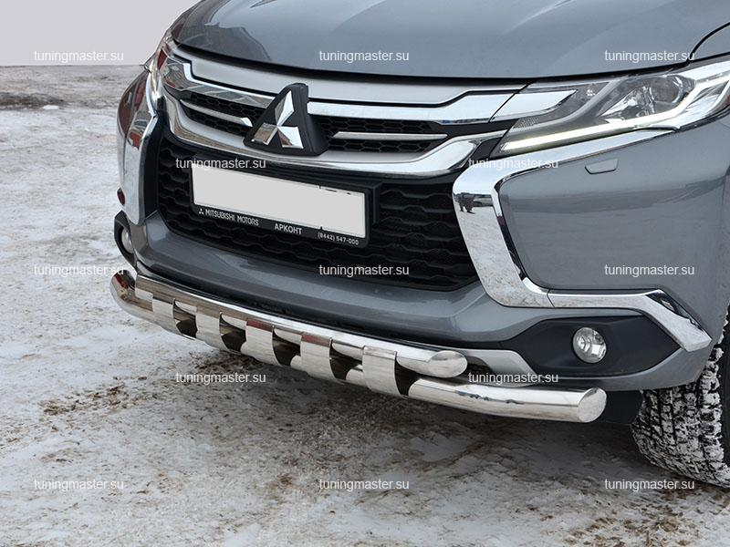 Защита переднего бампера Mitsubishi Pajero Sport двойная Ø76/60 (Акула)