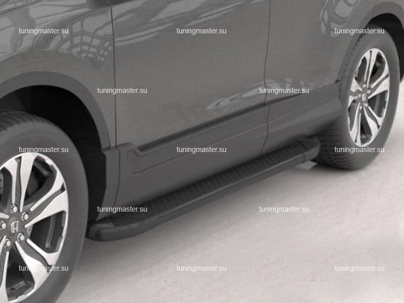 Пороги алюминиевые Honda CR-V (Sapphire Black)