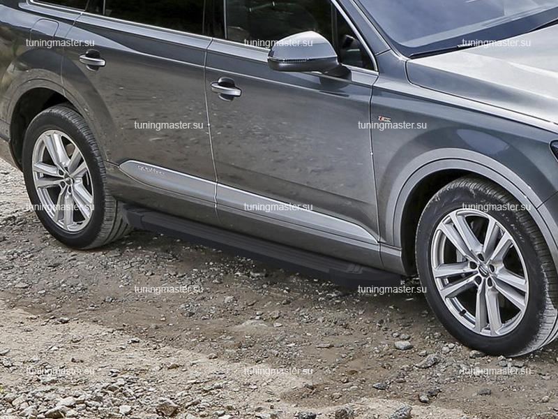 Пороги алюминиевые Audi Q7 (Black)
