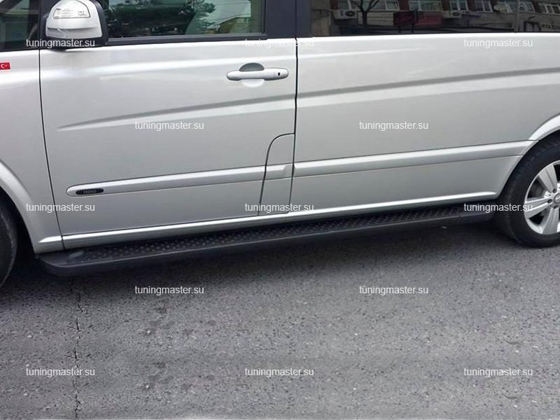 Пороги алюминиевые Mercedes Benz Vito W639 (Almond Black)