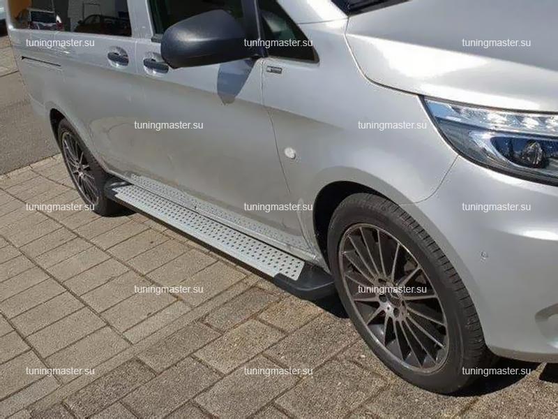 Пороги алюминиевые Mercedes Benz Vito (Almond Silver)