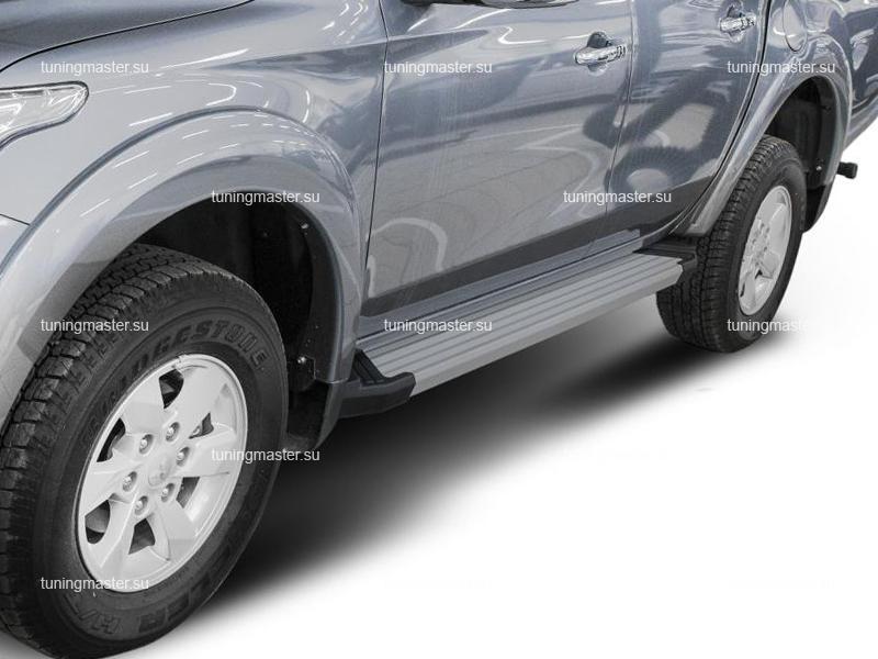 Пороги алюминиевые Mitsubishi L200 (Silver)