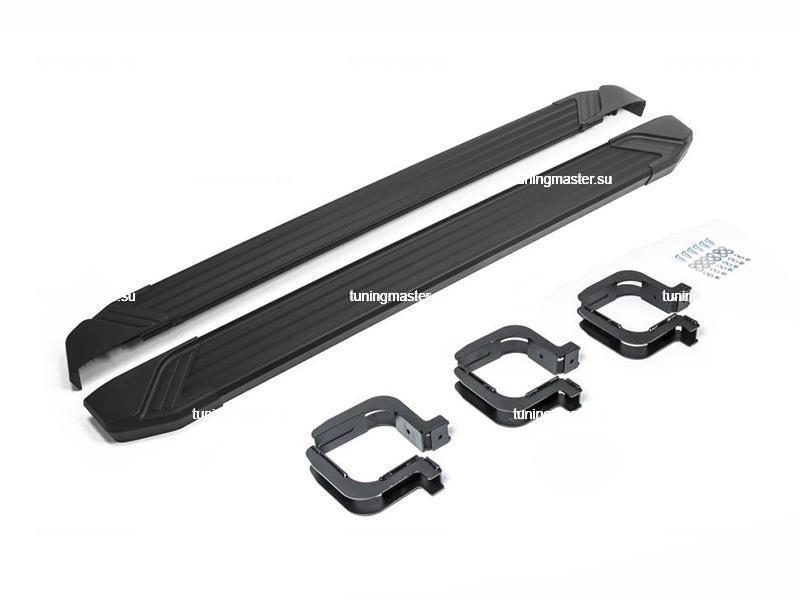 Пороги алюминиевые Mitsubishi Pajero Sport (Black)