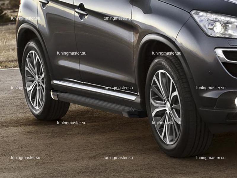 Пороги алюминиевые Peugeot 4008 (Black)
