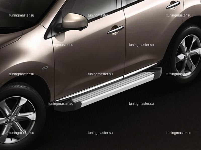 Пороги алюминиевые Nissan Murano (Silver)