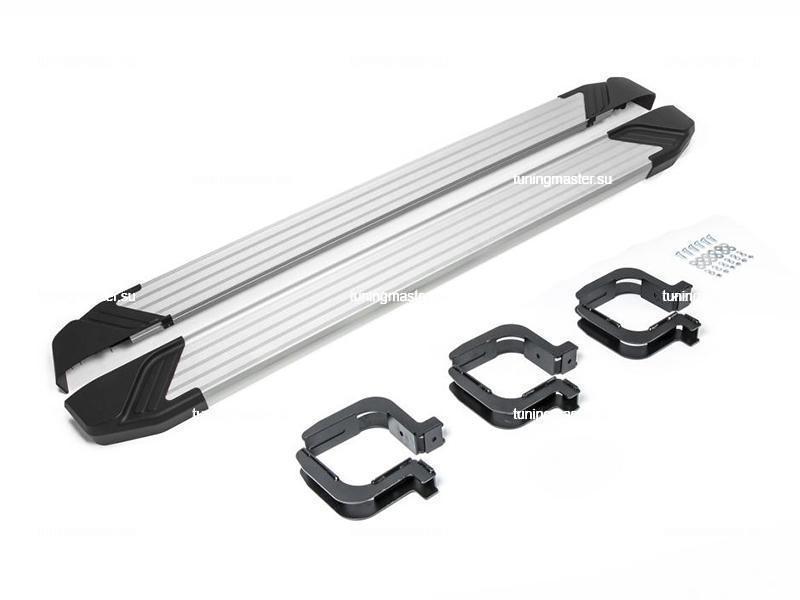 Пороги алюминиевые Mitsubishi L200 (Black)