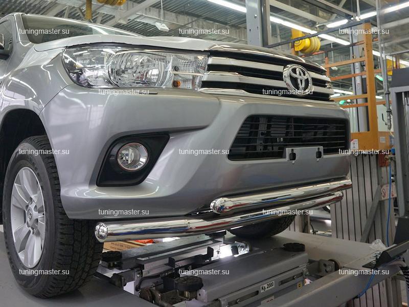 Защита переднего бампера Toyota Fortuner двойная труба Ø76/60