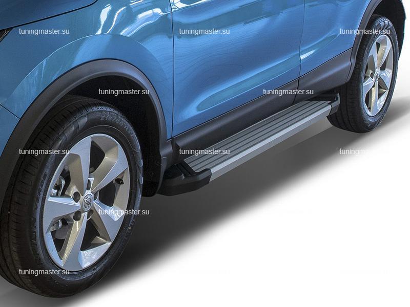 Пороги алюминиевые Nissan Qashqai J11 Рестайлинг (Silver)