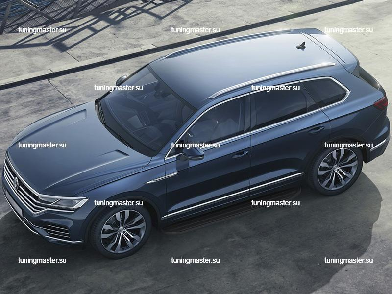 Пороги алюминиевые Volkswagen Touareg (Black)