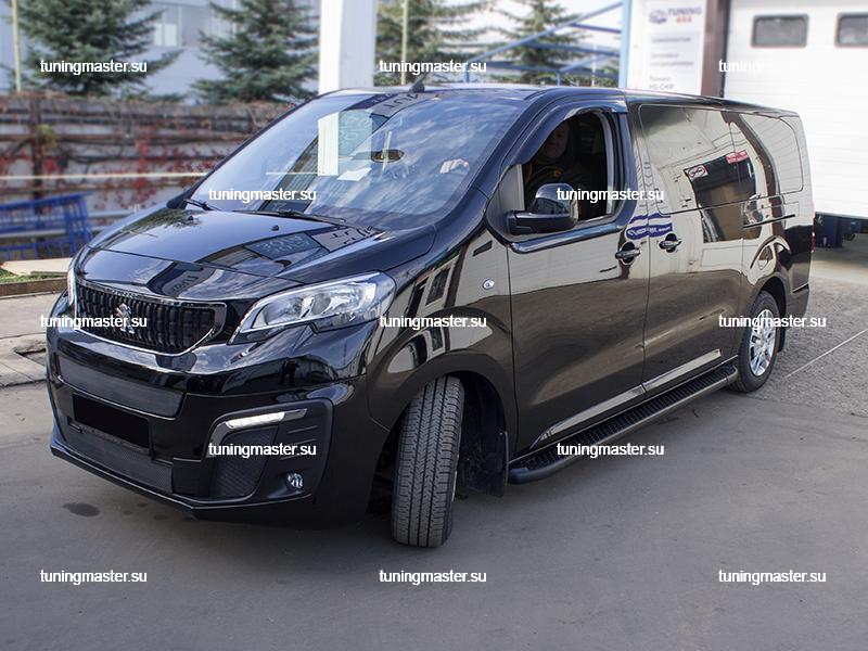 Пороги алюминиевые Peugeot Traveller (Sapphire Black)
