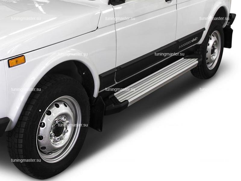 Пороги алюминиевые Lada Niva 5D (Silver)
