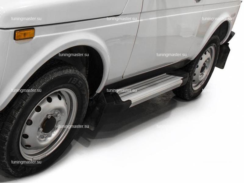 Пороги алюминиевые Lada Niva (Silver)
