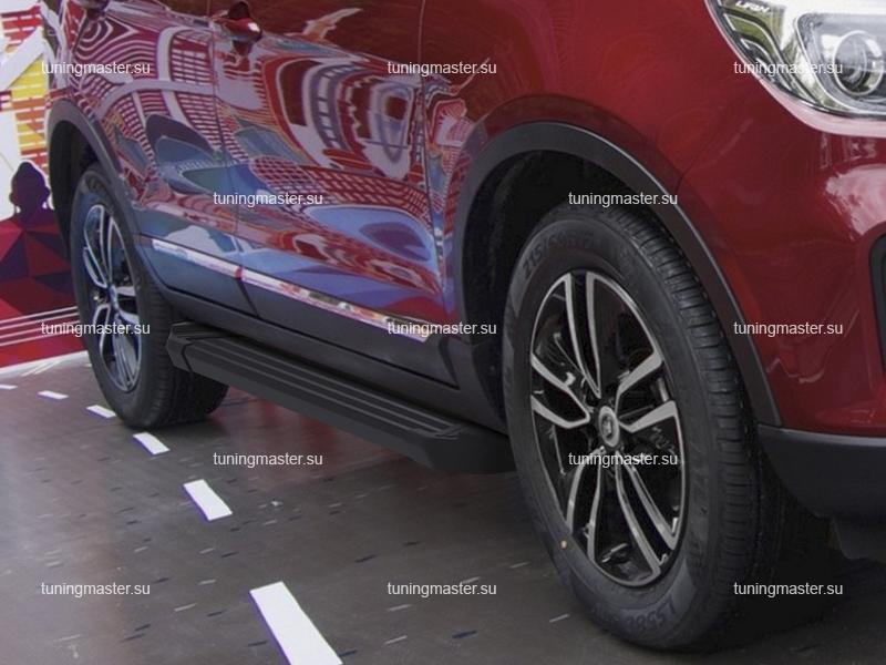 Пороги алюминиевые Lifan X70 (Black)