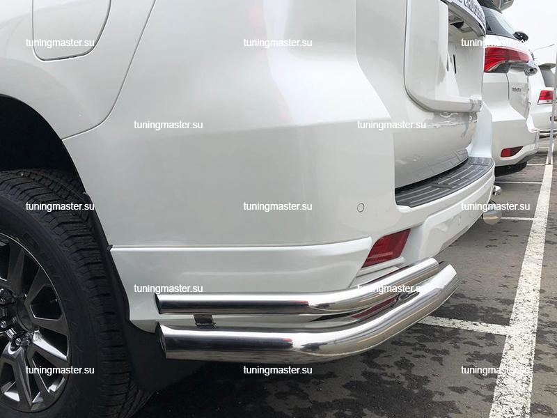 Защита заднего бампера Toyota Land Cruiser Prado 150 двойные углы Ø76