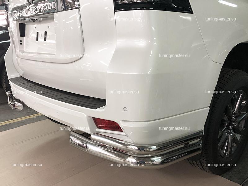 Защита заднего бампера Toyota Land Cruiser Prado 150 двойные углы
