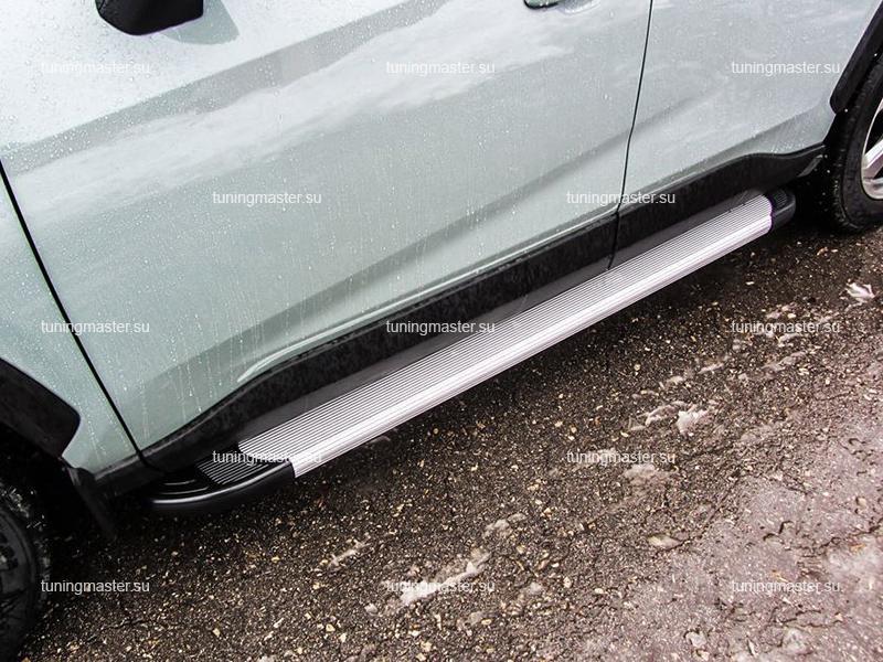 Пороги алюминиевые RAV4 XA50 (Optima Silver)