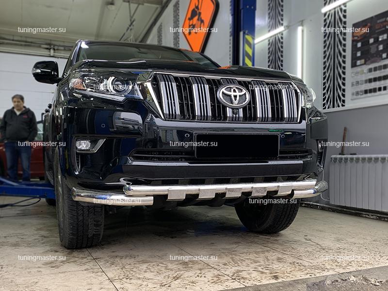 Защита переднего бампера Toyota Land Cruiser Prado 150 с профильной защитой