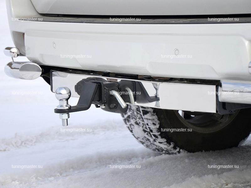 Фаркоп Toyota Land Cruiser Prado 150 с хромированной накладкой (быстросъемный)