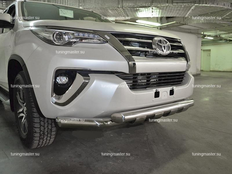 Защита переднего бампера Toyota Fortuner с профильной защитой Ø7660