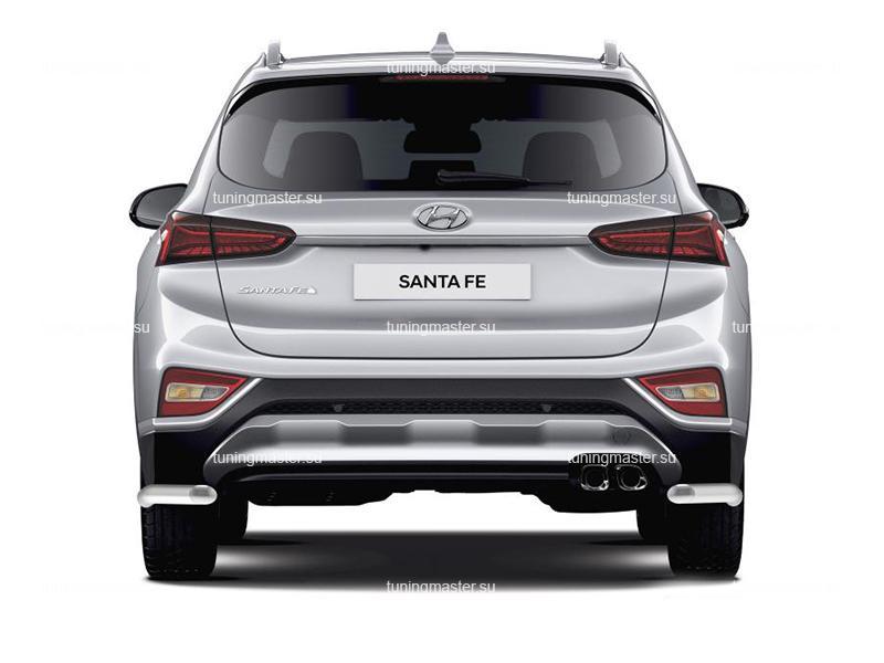 Защита заднего бампера Hyundai Santa Fe 4 углы Ø57