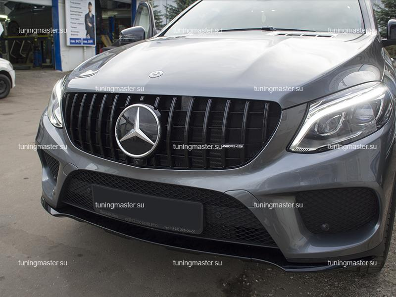 Решетка радиатора Mercedes Benz GLE Coupe C292 стиль GTR Black (с камерой) (2)