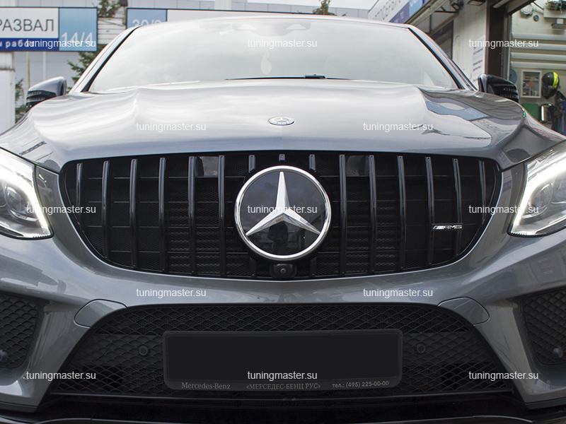 Решетка радиатора Mercedes Benz GLE Coupe C292 стиль GTR Black (с камерой) (3)