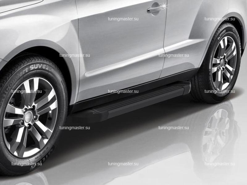 Пороги алюминиевые Geely Emgrand X7 (Black)
