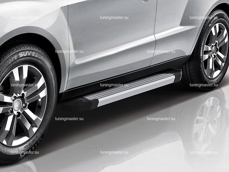 Пороги алюминиевые Geely Emgrand X7 (Silver)