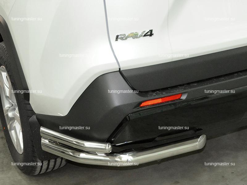 Защита заднего бампера Toyota RAV4 XA 50 двойные уголки Ø60/42