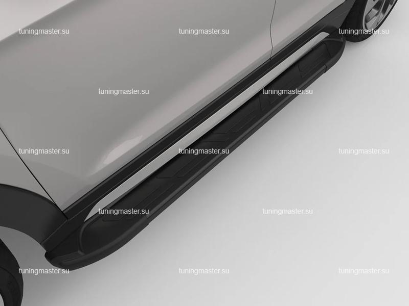 Пороги алюминиевые на авто (Sapphire 2 Black) Canotomotiv