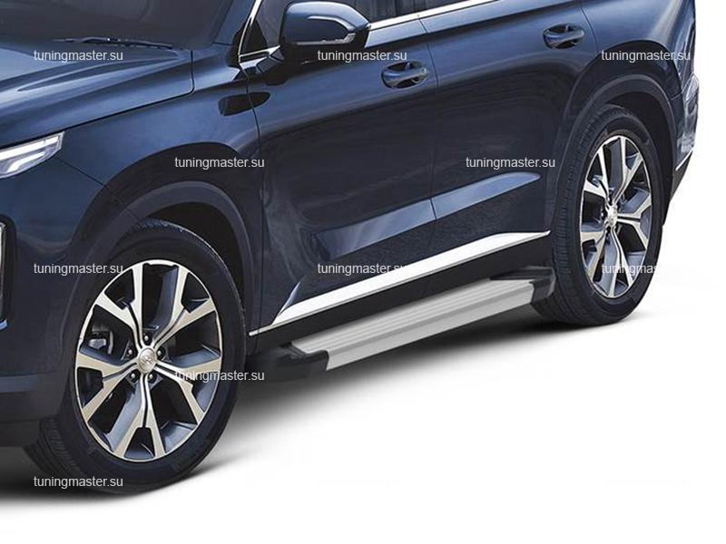 Пороги алюминиевые Hyundai Palisade (Silver)
