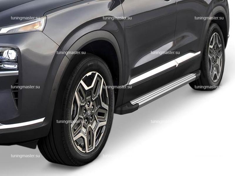 Пороги алюминиевые Hyundai Santa Fe 4 рестайлинг (Silver)