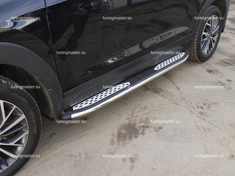 Пороги алюминиевые Hyundai Tucson 3 (Zirkon)