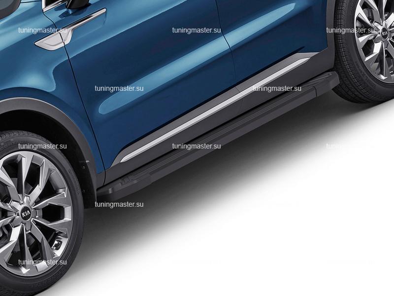 Пороги алюминиевые KIA Sorento 4 (Black)