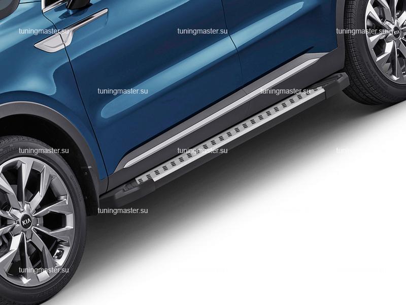 Пороги алюминиевые KIA Sorento 4 (Style BMW)
