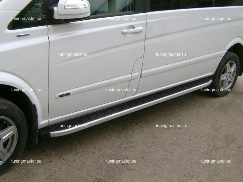 Пороги алюминиевые Mercedes Benz Vito W639 (Alyans) длинная база