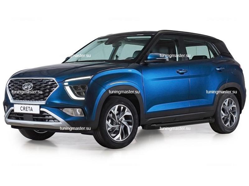 Пороги алюминиевые Hyundai Creta 2 (Black)