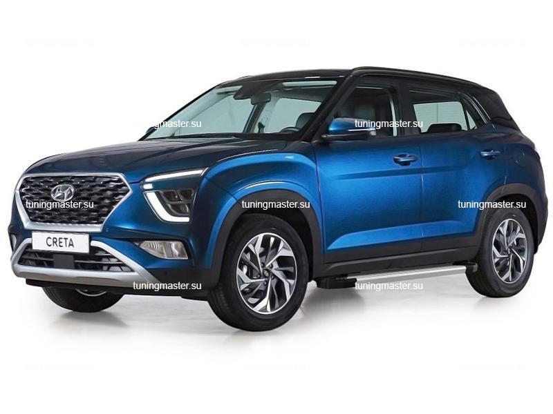 Пороги алюминиевые Hyundai Creta 2 (Silver)