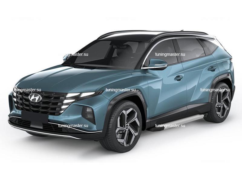 Пороги алюминиевые Hyundai Tucson 4 (Silver)