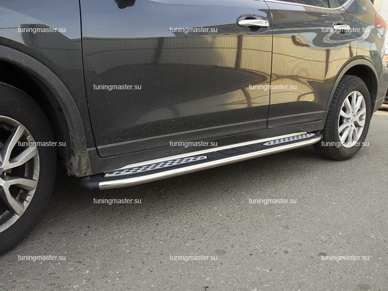 Пороги алюминиевые Nissan X-Trail T32 (Zirkon)