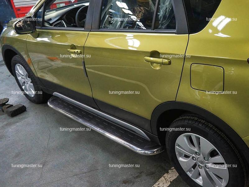 Пороги алюминиевые Suzuki SX4 (Ring)