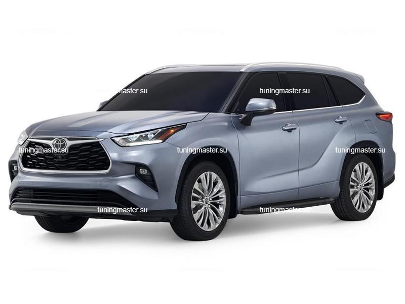 Пороги алюминиевые Toyota Highlander 4 (Premium Black)