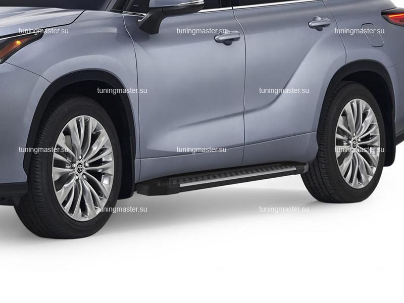 Пороги алюминиевые Toyota Highlander 4 (Style BMW)