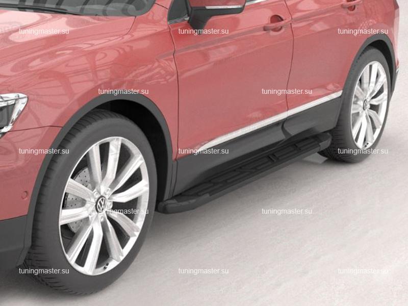 Пороги алюминиевые VolksWagen Tiguan 2 (Corund Black)