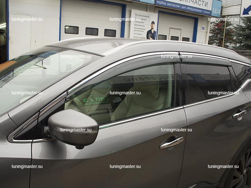 Дефлекторы боковые Nissan Murano Z52 с хромированным молдингом (4)