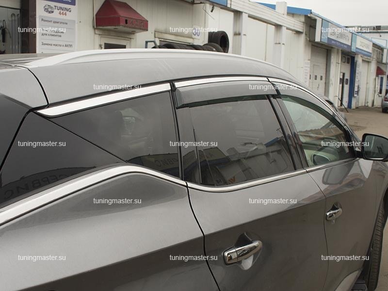 Дефлекторы боковые Nissan Murano Z52 с хромированным молдингом (5)
