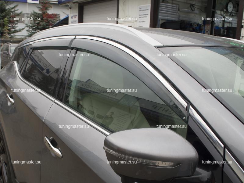 Дефлекторы боковые Nissan Murano Z52 с хромированным молдингом