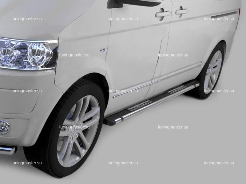 Пороги алюминиевые Volkswagen Transporter T6 (Emerald Black)