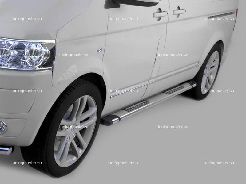 Пороги алюминиевые Volkswagen Transporter T6 (Emerald Silver)